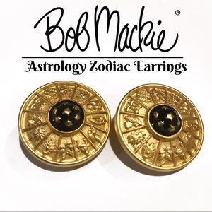Astrology Earrings With Zodiac-Vintage Bob Mackie